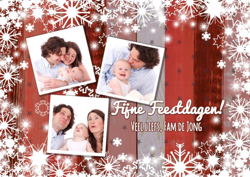 Kerstkaarten - Kerstkaart 3 foto's rood met houtlook