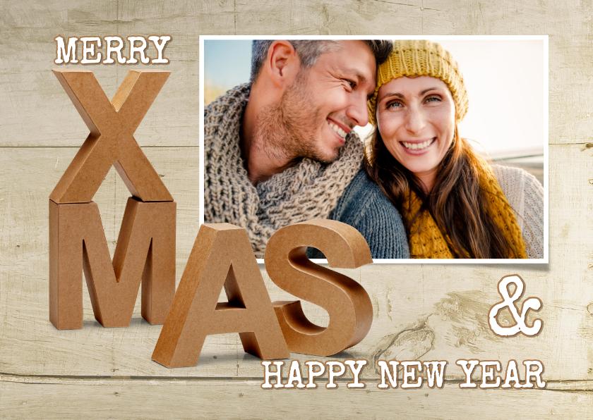 Kerstkaarten - Kerstkaart 3D letters XMAS hout eigen foto