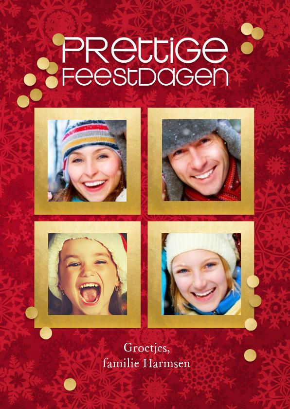 Kerstkaarten - Kerstkaart 4 goudkleurige lijstjes
