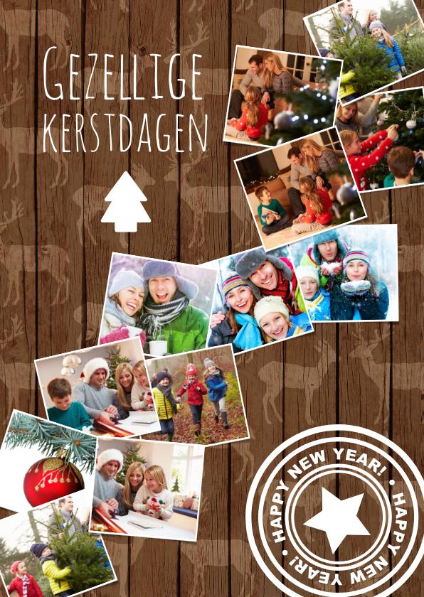 Kerstkaarten - Kerstkaart achtergrond met rendierhout