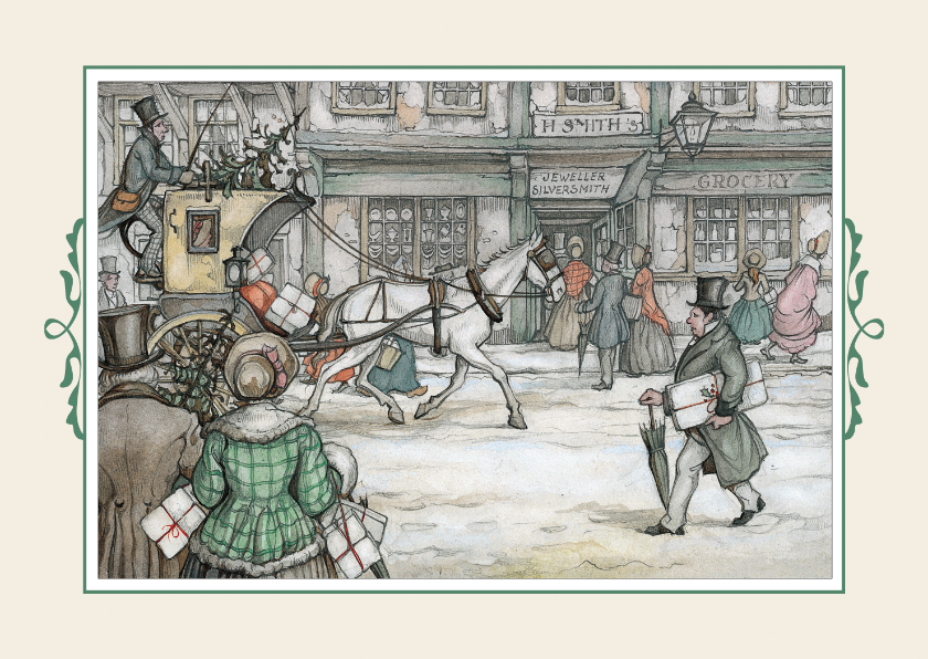 Kerstkaarten - Kerstkaart - Anton Pieck illlustratie postkoets in straat
