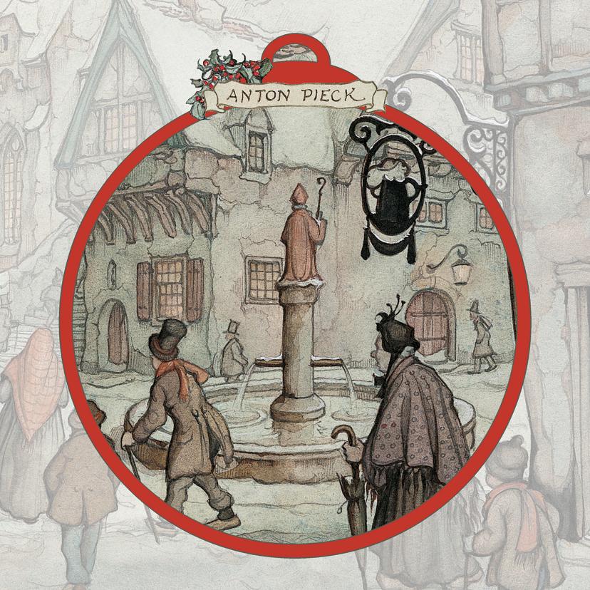 Kerstkaarten - Kerstkaart - Anton Pieck illustratie avond op winters plein