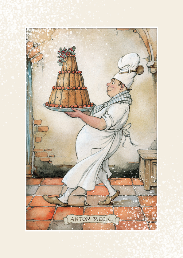 Kerstkaarten - Kerstkaart - Anton Pieck illustratie bakker met taart