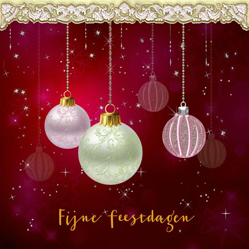 Kerstkaarten - Kerstkaart ballen en glitters