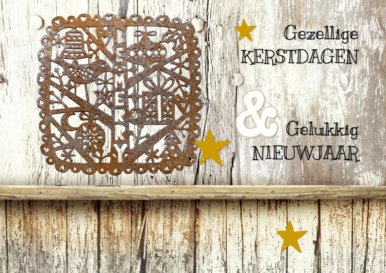 Kerstkaarten - Kerstkaart Be Merry Hout 2 - SG