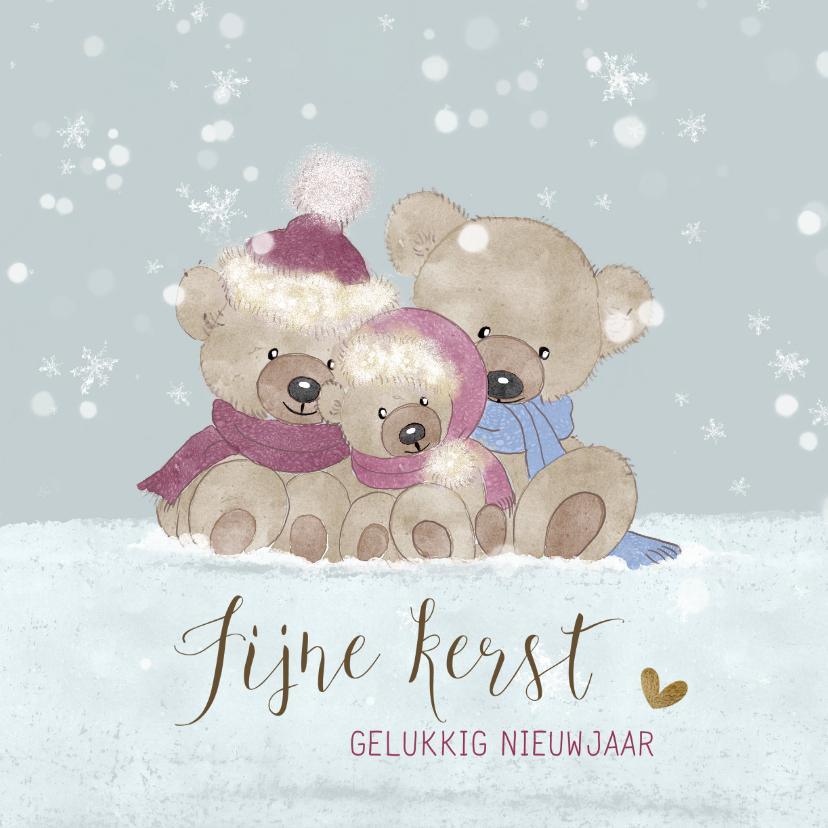 Kerstkaarten - Kerstkaart beren in de sneeuw-baby's 1ste kerst