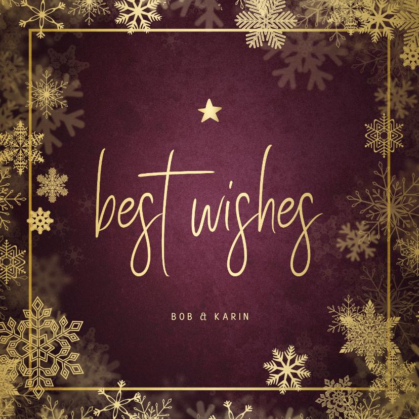 Kerstkaarten - Kerstkaart best wishes bordeaux met goudlook kader