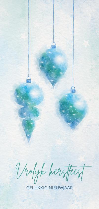 Kerstkaarten - Kerstkaart blauw-groen aquarel met 3 kerstballen