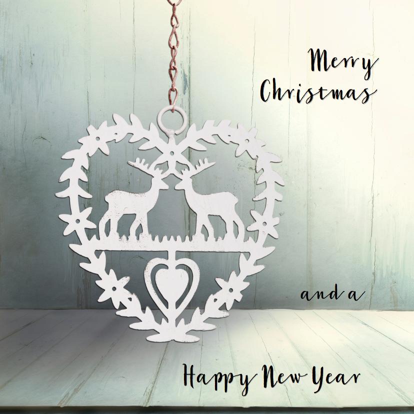 Kerstkaarten - Kerstkaart blauw hout hart herten - SG