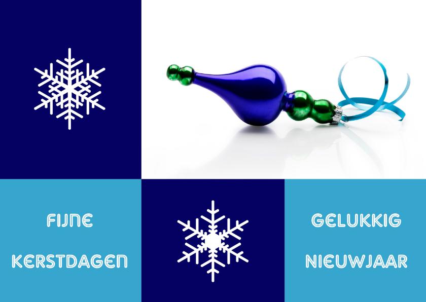 Kerstkaarten - Kerstkaart blauwe kerstbal strak