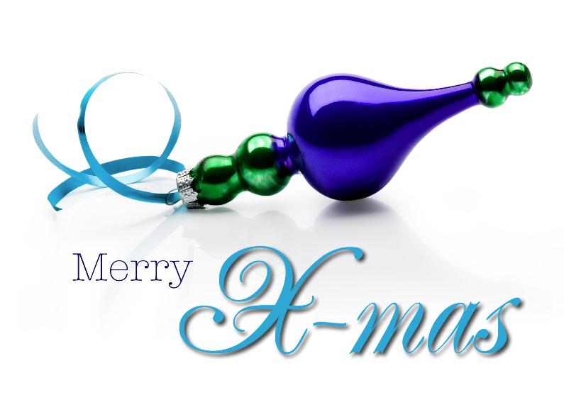 kerstkaart blauwe kerstbal X-Mas 1