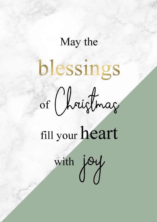 Kerstkaarten - Kerstkaart Blessings marmer