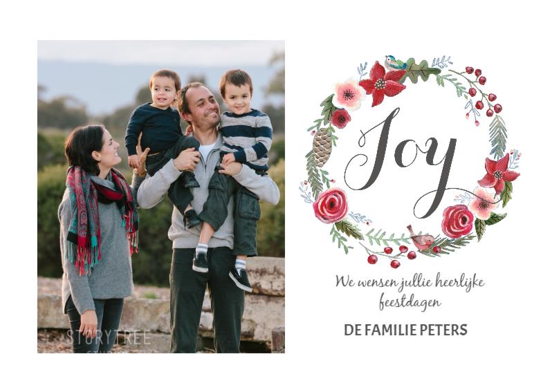 Kerstkaarten - Kerstkaart Bloemen Krans Joy