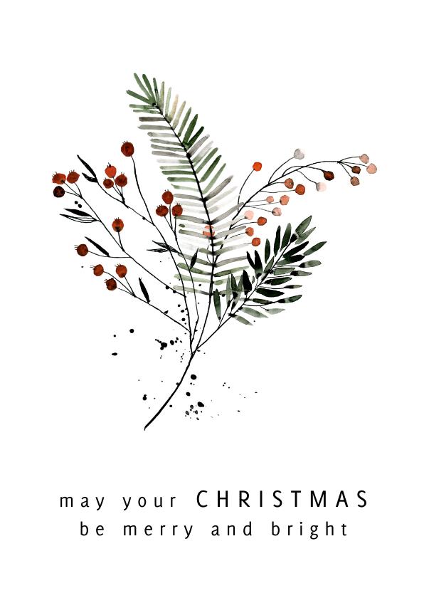 Kerstkaarten - Kerstkaart boeket takjes en bessen