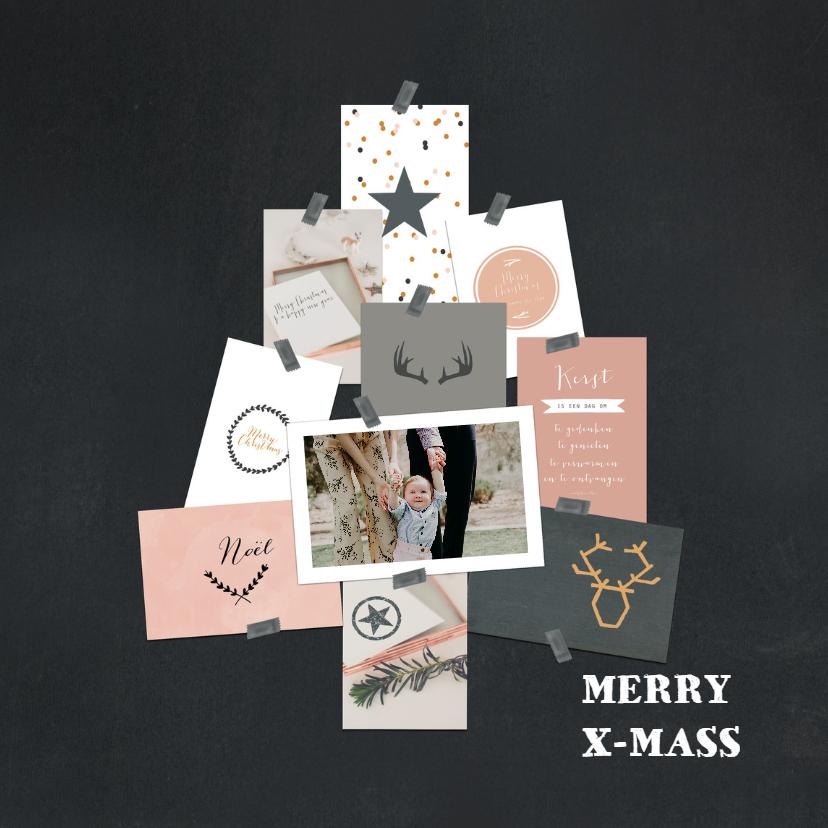 Kerstkaarten - Kerstkaart boom collage krijt
