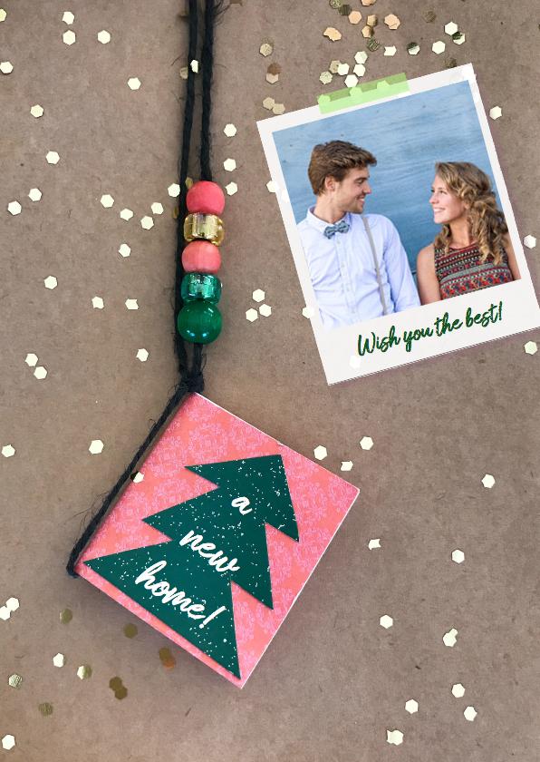 Kerstkaarten - kerstkaart boom label foto