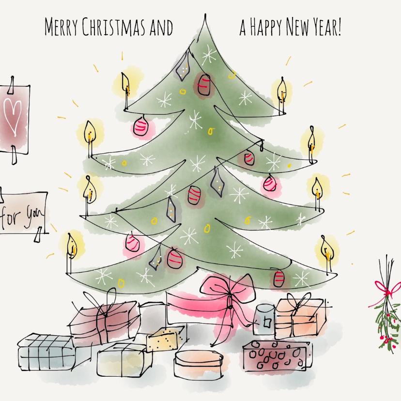Kerstkaarten - Kerstkaart Boom met pakjes