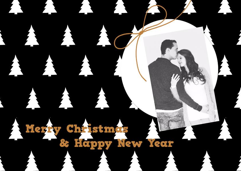 Kerstkaarten - Kerstkaart Boom zwart wit