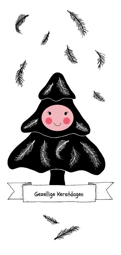 Kerstkaarten - Kerstkaart boompje zwart wit met gezichtje