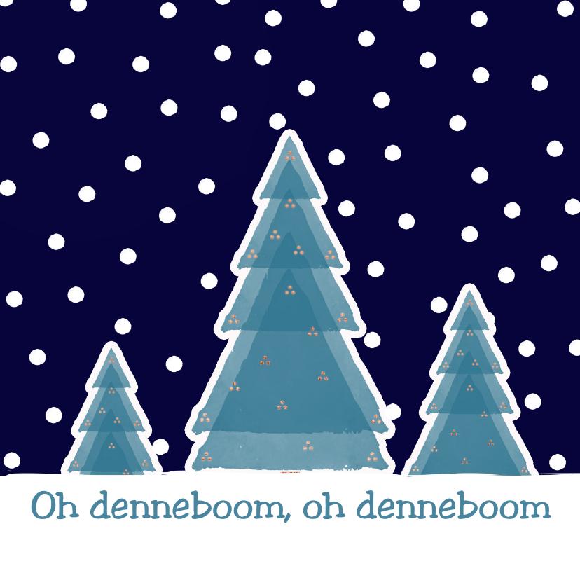 Kerstkaarten - Kerstkaart Boompjes in sneeuw