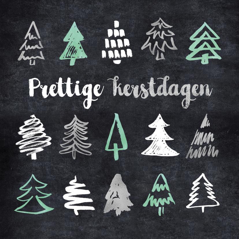 Kerstkaarten - Kerstkaart boompjes op krijtbord