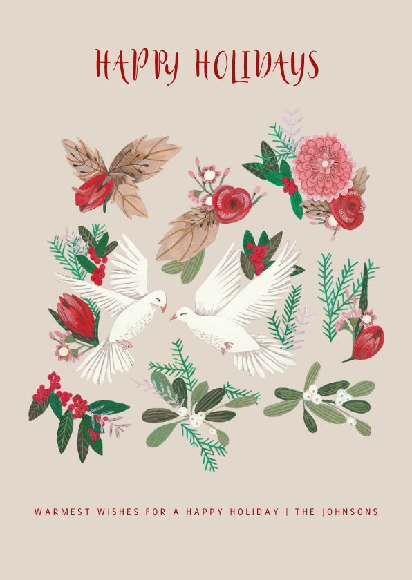 Kerstkaarten - Kerstkaart botanisch met duiven