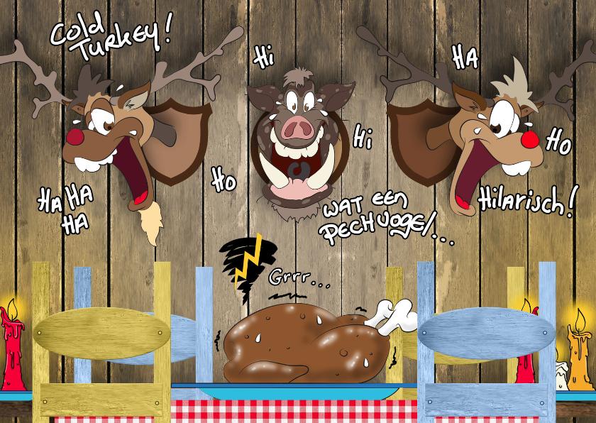 Kerstkaarten - Kerstkaart cartoon diner