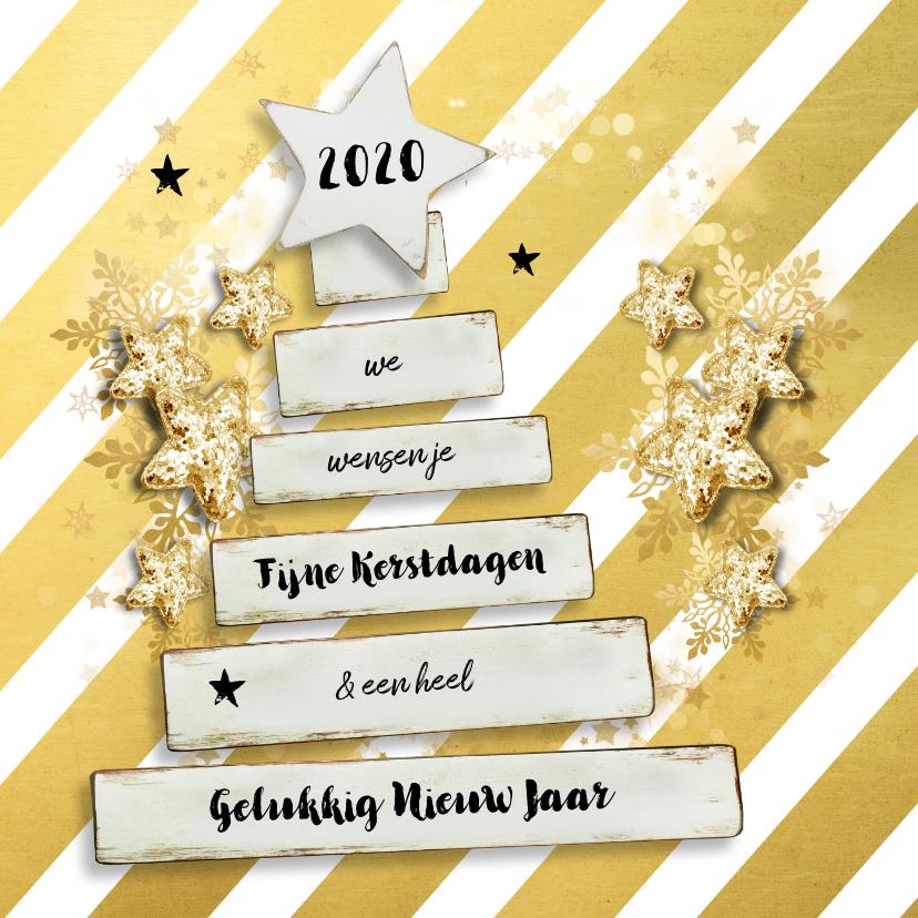 Kerstkaarten - Kerstkaart chique goudkleur - SG