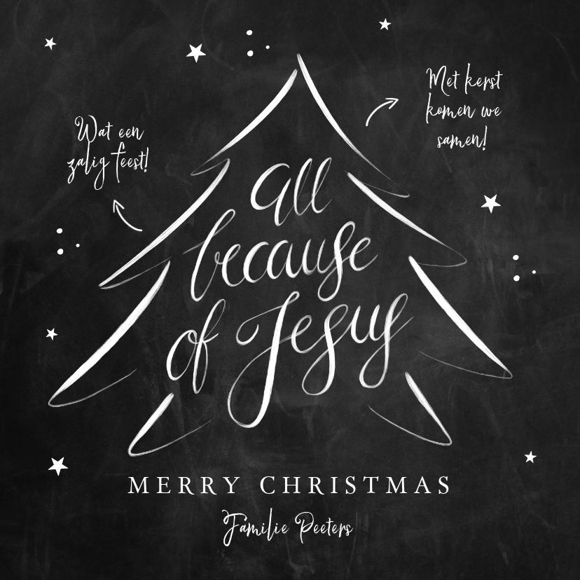 Kerstkaarten - Kerstkaart Christelijk kerstboom Jezus krijtbord kalligrafie