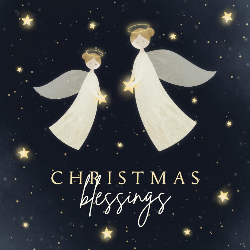 Kerstkaarten - Kerstkaart Christmas Blessings met 2 engelen en sterren