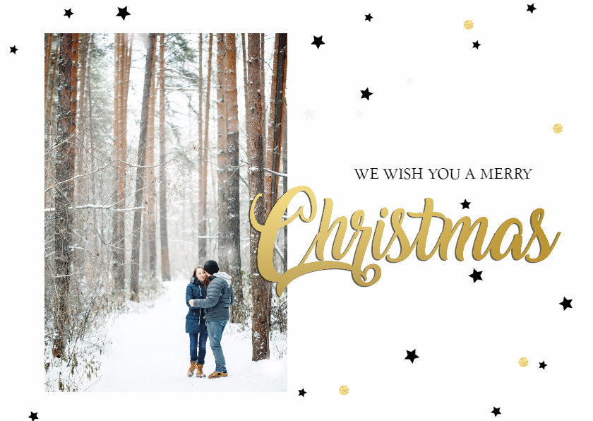 Kerstkaarten - Kerstkaart christmas goud