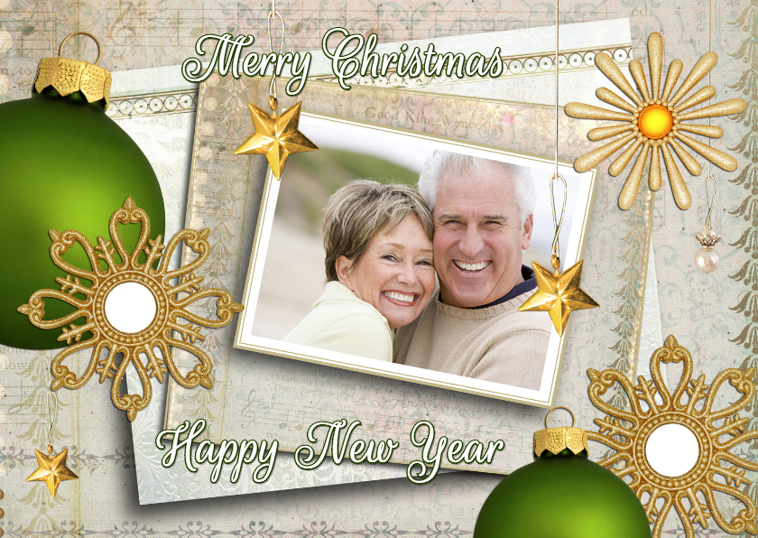 Kerstkaarten - Kerstkaart Christmas in gold met foto