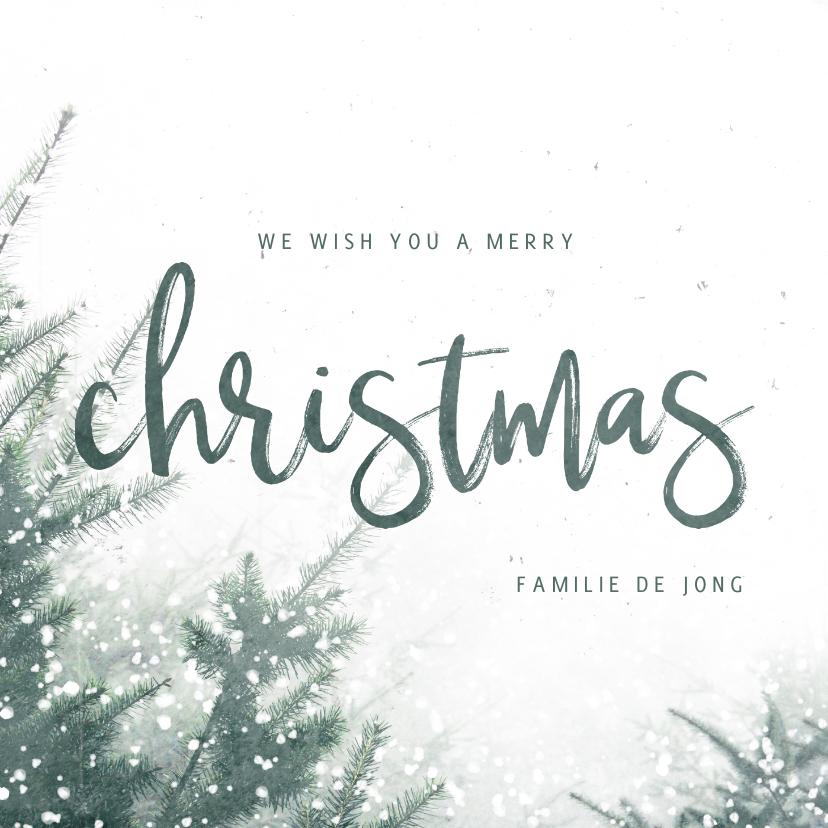 Kerstkaarten - Kerstkaart christmas met kerstbomen en sneeuw