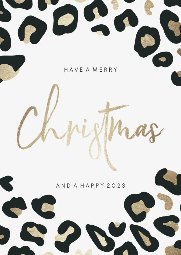 Kerstkaarten - Kerstkaart christmas panterprint goudlook