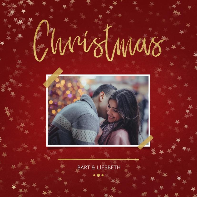 Kerstkaarten - Kerstkaart Christmas rood met foto en goud