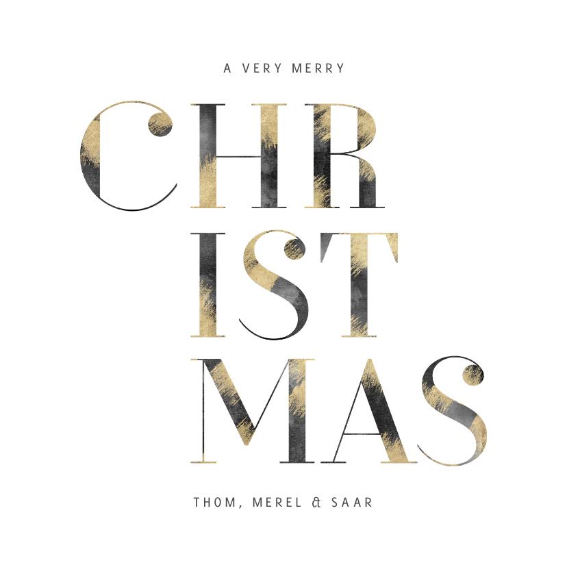 Kerstkaarten - Kerstkaart 'Christmas' typografie met goud en waterverf