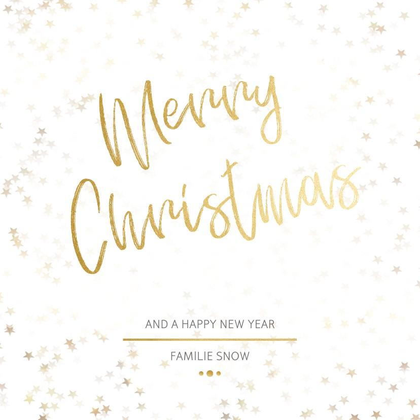 Kerstkaarten - Kerstkaart Christmas wit en goud - Een gouden kerst