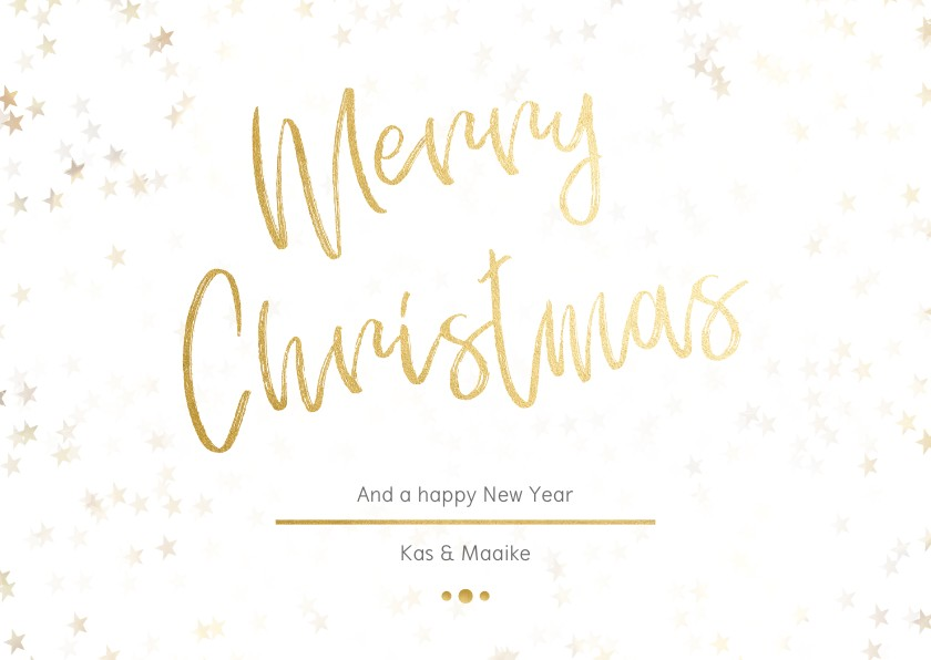 Kerstkaarten - Kerstkaart Christmas wit met goud - Een gouden kerst