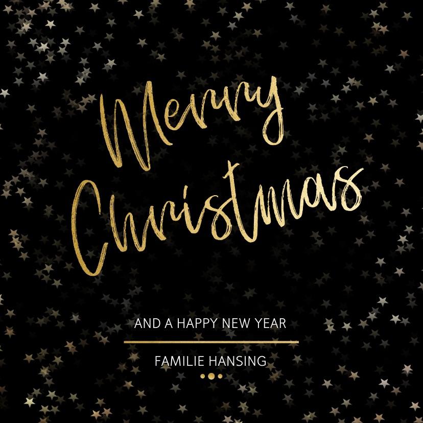 Kerstkaarten - Kerstkaart Christmas zwart en goud - Een gouden kerst