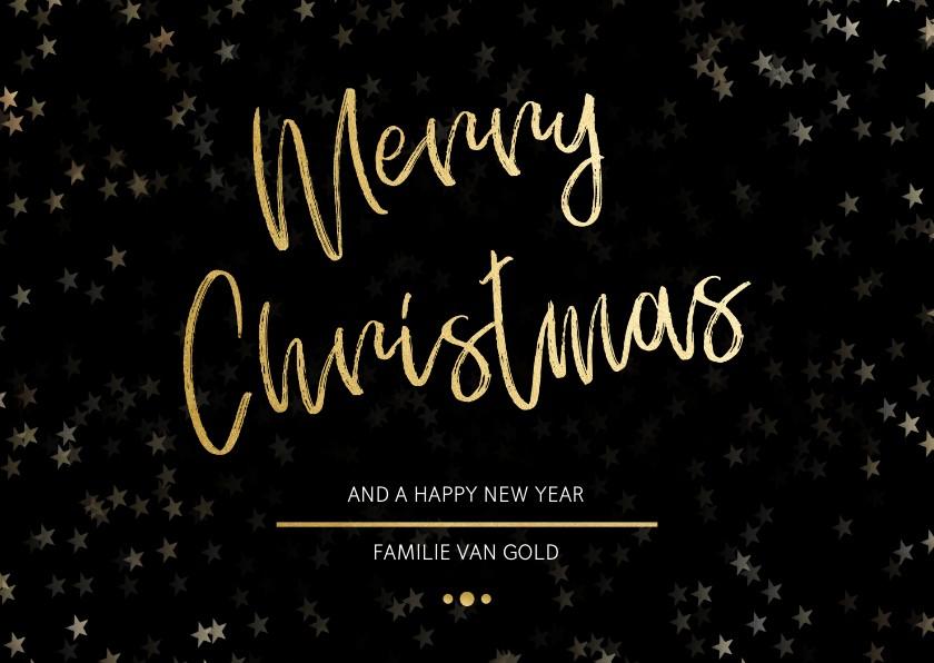Kerstkaarten - Kerstkaart Christmas zwart met goud - Een gouden kerst