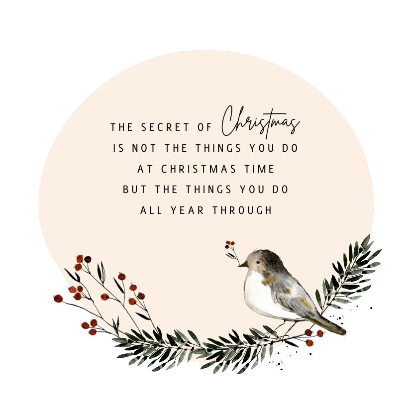 Kerstkaarten - Kerstkaart cirkel vogel
