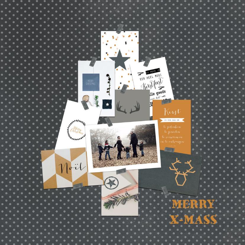Kerstkaarten - Kerstkaart collage boom stippen