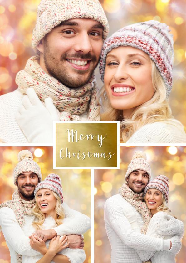 Kerstkaarten - Kerstkaart collage foto goud