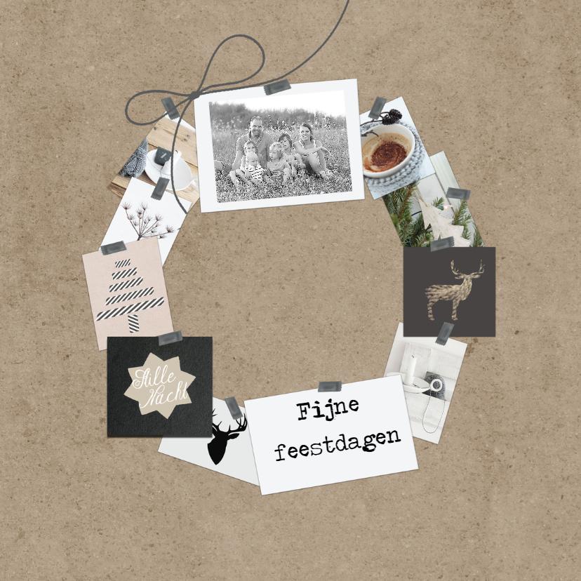 Kerstkaarten - Kerstkaart collage krans