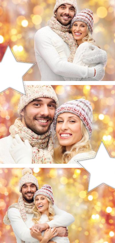 Kerstkaarten - Kerstkaart collage langwerpig fotocollage met sterren