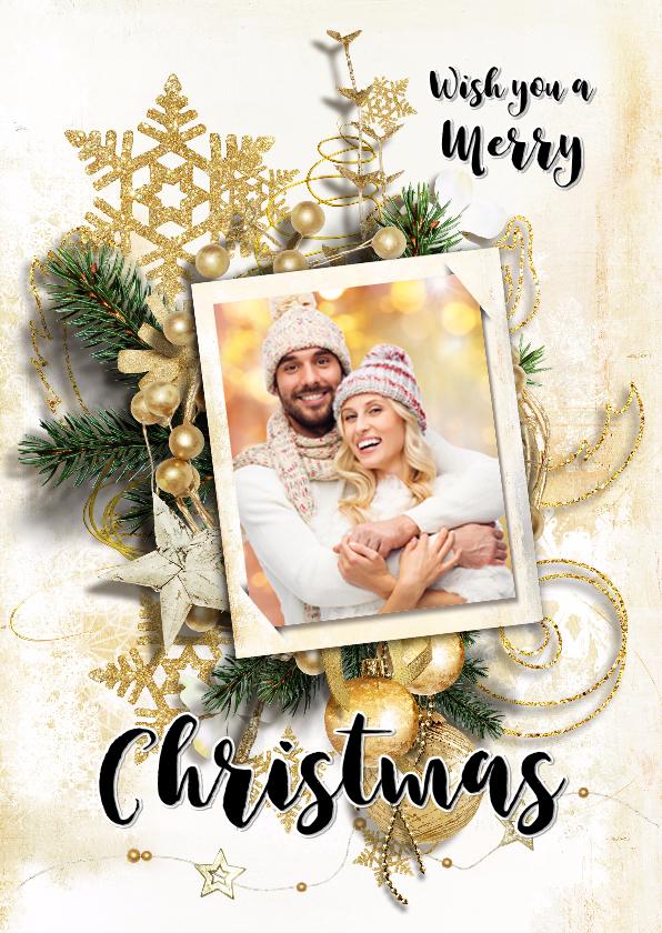 Kerstkaarten - Kerstkaart collage scrapbook staand goudtinten