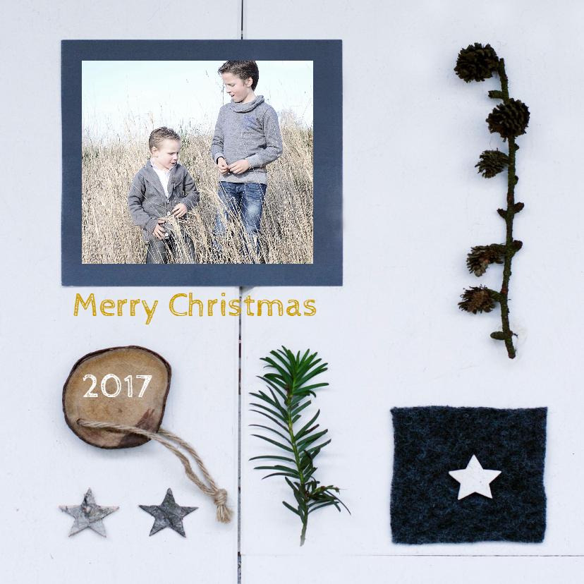 Kerstkaarten - Kerstkaart Collage wit hout