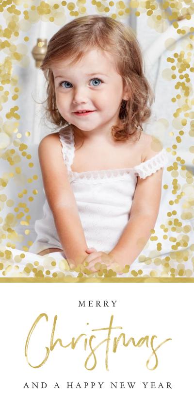 Kerstkaarten - Kerstkaart confetti goud merry christmas hip