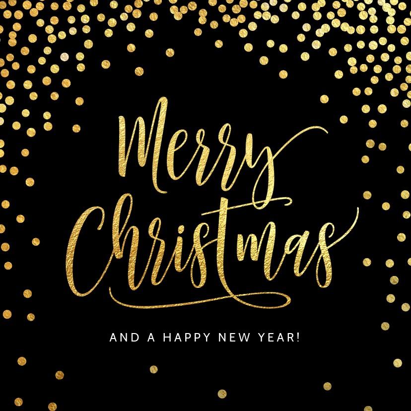 Kerstkaarten - Kerstkaart confetti goud zwart