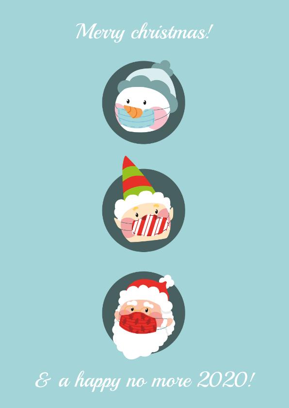 Kerstkaarten - Kerstkaart corona drie kerstfiguren met mondkapje